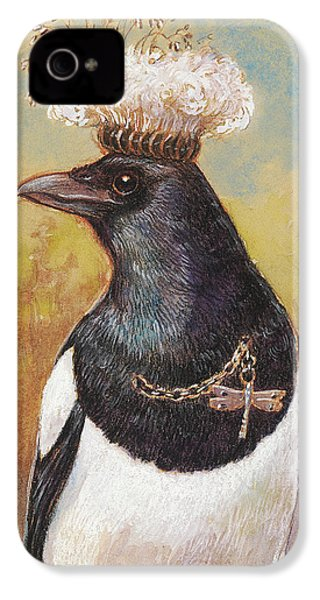 Magpie In A Milkweed Crown IPhone 4 / 4s Case by Tracie Thompson