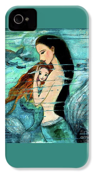Mermaid Mother And Child IPhone 4 / 4s Case by Shijun Munns