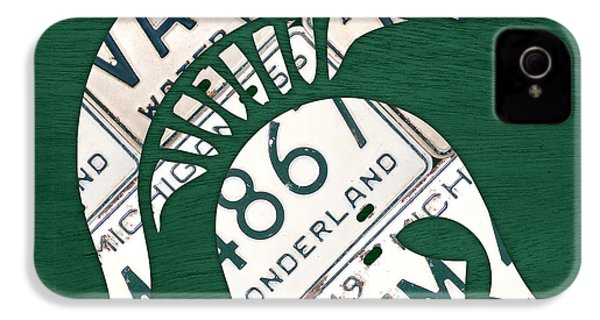 Michigan State Spartans Sports Retro Logo License Plate Fan Art IPhone 4 / 4s Case by Design Turnpike