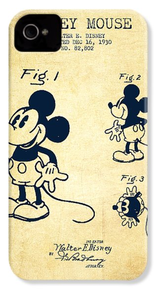 Mickey Mouse Patent Drawing From 1930 - Vintage IPhone 4 / 4s Case by Aged Pixel