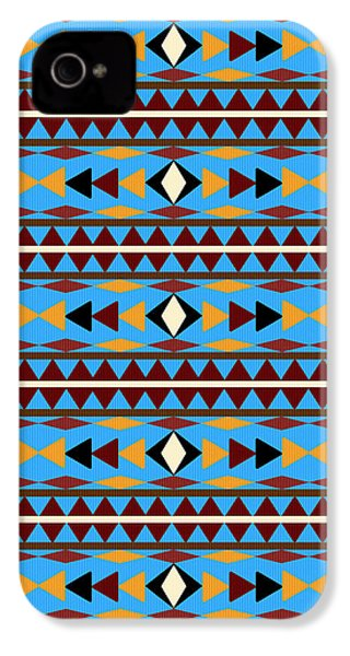 Navajo Blue Pattern IPhone 4 / 4s Case by Christina Rollo