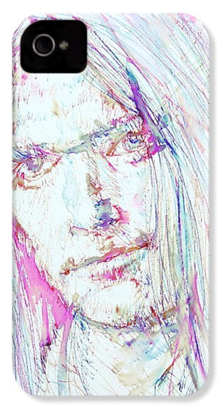 Neil Young - Colored Pens Portrait IPhone 4 / 4s Case by Fabrizio Cassetta