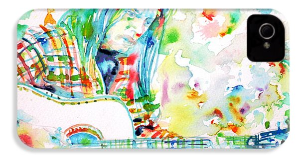 Neil Young Playing The Guitar - Watercolor Portrait.1 IPhone 4 / 4s Case by Fabrizio Cassetta