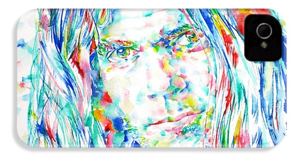 Neil Young - Watercolor Portrait IPhone 4 / 4s Case by Fabrizio Cassetta
