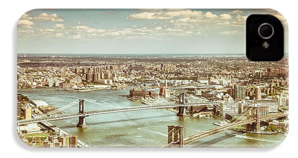 New York City - Brooklyn Bridge And Manhattan Bridge From Above IPhone 4 / 4s Case by Vivienne Gucwa