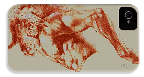 North American Minotaur Red Sketch IPhone 4 / 4s Case by Derrick Higgins