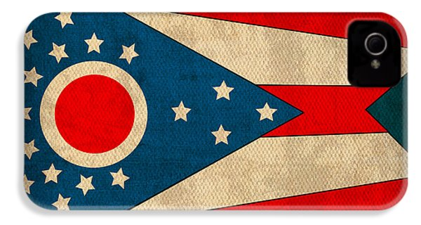 Ohio State Flag Art On Worn Canvas IPhone 4 / 4s Case by Design Turnpike