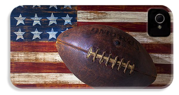 Old Football On American Flag IPhone 4 / 4s Case by Garry Gay
