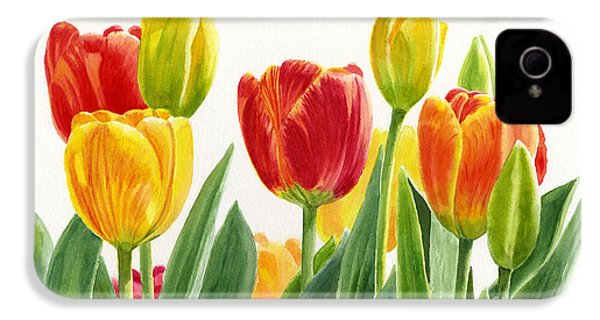Orange And Yellow Tulips Horizontal Design IPhone 4 / 4s Case by Sharon Freeman