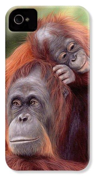 Orangutans Painting IPhone 4 / 4s Case by Rachel Stribbling