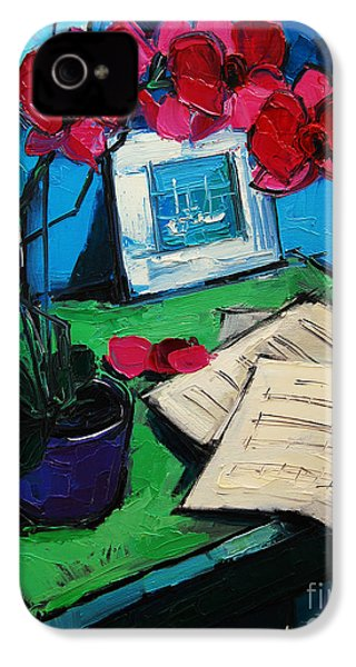 Orchid And Piano Sheets IPhone 4 / 4s Case by Mona Edulesco