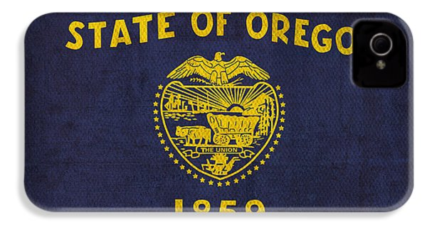 Oregon State Flag Art On Worn Canvas IPhone 4 / 4s Case by Design Turnpike