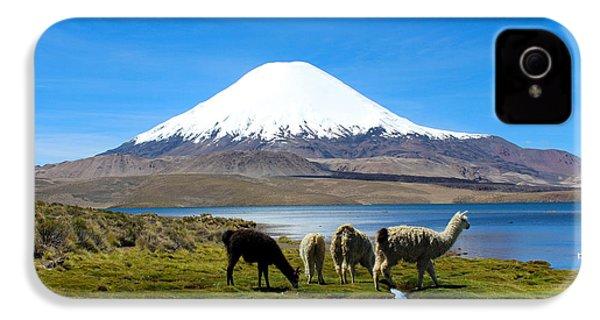 Parinacota Volcano Lake Chungara Chile IPhone 4 / 4s Case by Kurt Van Wagner