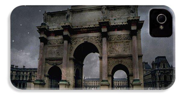 Paris Arc Du Carousel - Louvre Museum Arc De Triomphe - Starry Night Blue Paris Louvre Courtyard IPhone 4 / 4s Case by Kathy Fornal