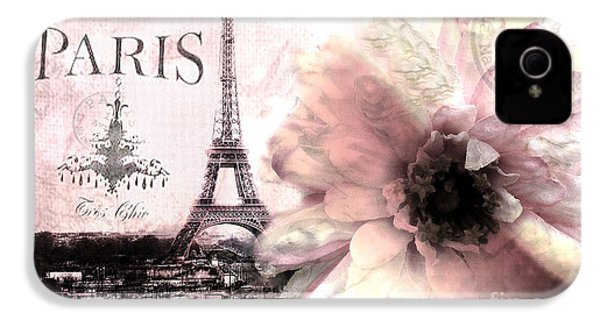 Paris Dreamy Eiffel Tower Montage - Paris Romantic Pink Sepia Eiffel Tower And Flower French Script IPhone 4 / 4s Case by Kathy Fornal