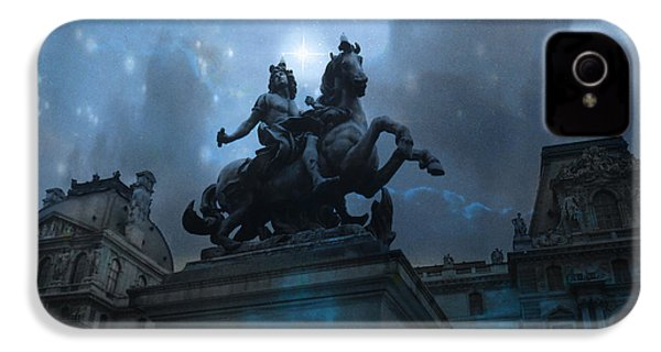 Paris Louvre Museum Blue Starry Night - King Louis Xiv Monument At Louvre Museum IPhone 4 / 4s Case by Kathy Fornal