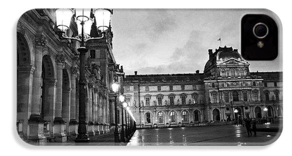 Paris Louvre Museum Lanterns Lamps - Paris Black And White Louvre Museum Architecture IPhone 4 / 4s Case by Kathy Fornal