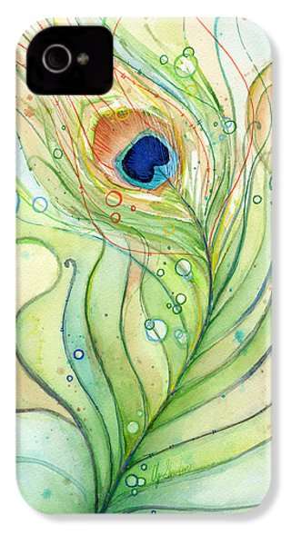 Peacock Feather Watercolor IPhone 4 / 4s Case by Olga Shvartsur
