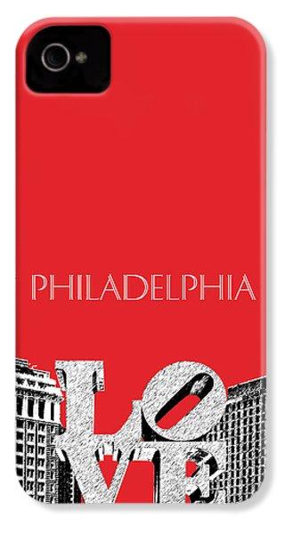 Philadelphia Skyline Love Park - Red IPhone 4 / 4s Case by DB Artist