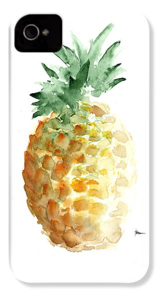 Pineapple Art Print Watercolor Painting IPhone 4 / 4s Case by Joanna Szmerdt