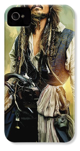 Pirates Of The Caribbean Johnny Depp Artwork 1 IPhone 4 / 4s Case by Sheraz A