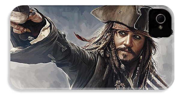 Pirates Of The Caribbean Johnny Depp Artwork 2 IPhone 4 / 4s Case by Sheraz A