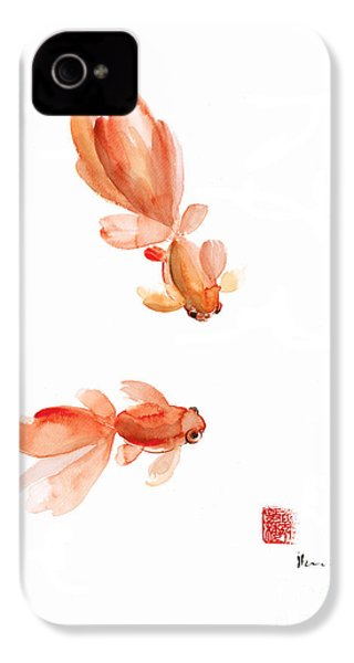 Pisces Zodiac Fishes Orange Red  Pink Fish Water Goldfish Watercolor Painting IPhone 4 / 4s Case by Johana Szmerdt