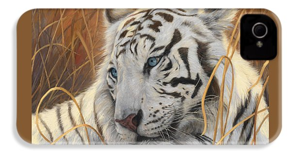 Portrait White Tiger 1 IPhone 4 / 4s Case by Lucie Bilodeau