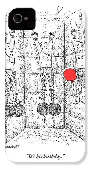 Prisoner In Dungeon Has Orange Balloons Attached IPhone 4 / 4s Case by Robert Mankoff