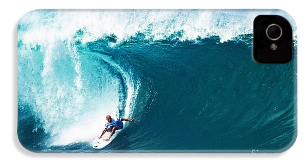 Pro Surfer Kelly Slater Surfing In The Pipeline Masters Contest IPhone 4 / 4s Case by Paul Topp