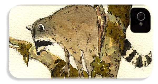 Raccoon On A Tree IPhone 4 / 4s Case by Juan  Bosco