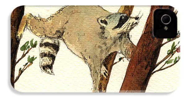 Raccoon On Tree IPhone 4 / 4s Case by Juan  Bosco