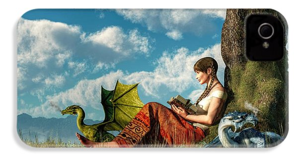 Reading About Dragons IPhone 4 / 4s Case by Daniel Eskridge