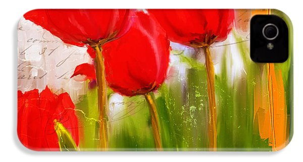 Red Enigma- Red Tulips Paintings IPhone 4 / 4s Case by Lourry Legarde