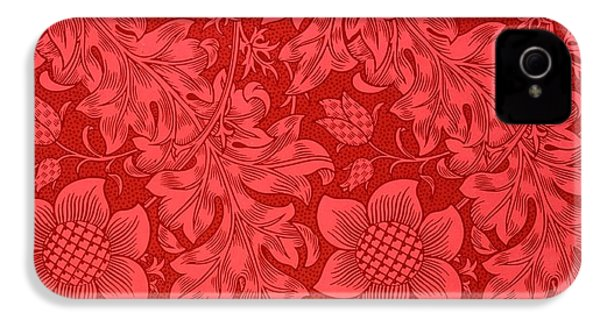 Red Sunflower Wallpaper Design, 1879 IPhone 4 / 4s Case by William Morris