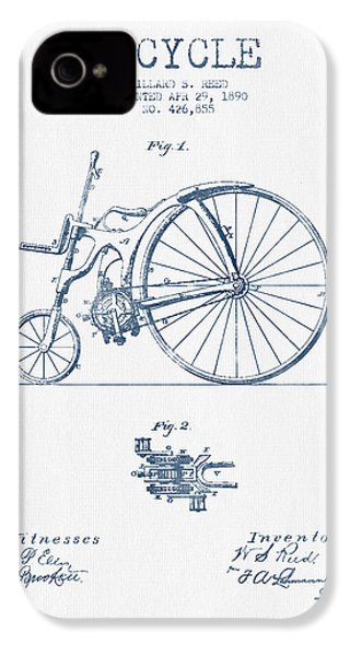 Reed Bicycle Patent Drawing From 1890 - Blue Ink IPhone 4 / 4s Case by Aged Pixel