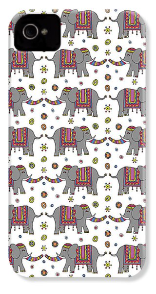 Repeat Print - Indian Elephant IPhone 4 / 4s Case by Susan Claire