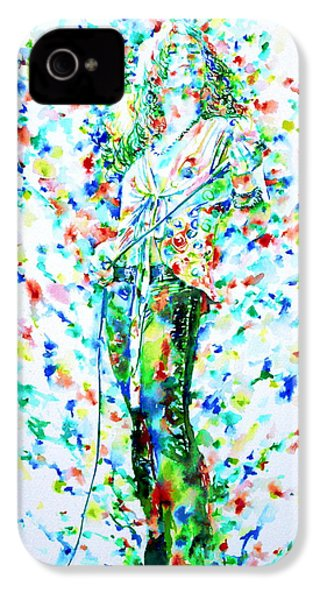 Robert Plant Singing - Watercolor Portrait IPhone 4 / 4s Case by Fabrizio Cassetta