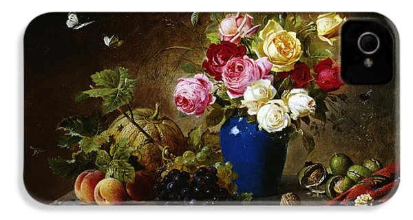 Roses In A Vase Peaches Nuts And A Melon On A Marbled Ledge IPhone 4 / 4s Case by Olaf August Hermansen