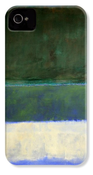 Rothko's No. 14 -- White And Greens In Blue IPhone 4 / 4s Case by Cora Wandel