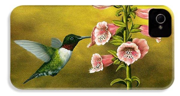 Ruby Throated Hummingbird And Foxglove IPhone 4 / 4s Case by Rick Bainbridge