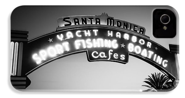Santa Monica Pier Sign In Black And White IPhone 4 / 4s Case by Paul Velgos