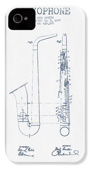 Saxophone Patent Drawing From 1899 - Blue Ink IPhone 4 / 4s Case by Aged Pixel