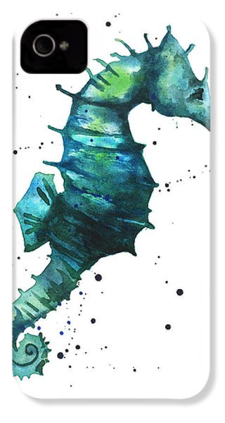 Seahorse In Teal IPhone 4 / 4s Case by Alison Fennell