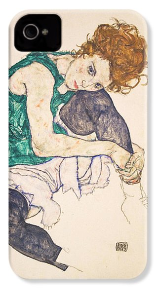 Seated Woman With Legs Drawn Up. Adele Herms IPhone 4 / 4s Case by Egon Schiele