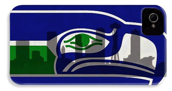 Seattle Seahawks On Seattle Skyline IPhone 4 / 4s Case by Dan Sproul