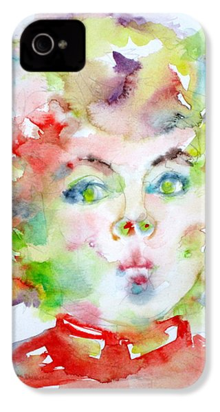 Shirley Temple - Watercolor Portrait.2 IPhone 4 / 4s Case by Fabrizio Cassetta