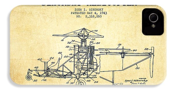Sikorsky Helicopter Patent Drawing From 1943-vintage IPhone 4 / 4s Case by Aged Pixel