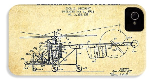 Sikorsky Helicopter Patent Drawing From 1943-vintgae IPhone 4 / 4s Case by Aged Pixel