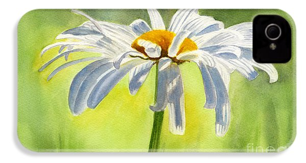 Single White Daisy Blossom IPhone 4 / 4s Case by Sharon Freeman